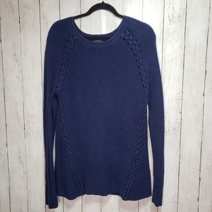 Halogen Blue Long Cotton Cable Knit Sweater Size M